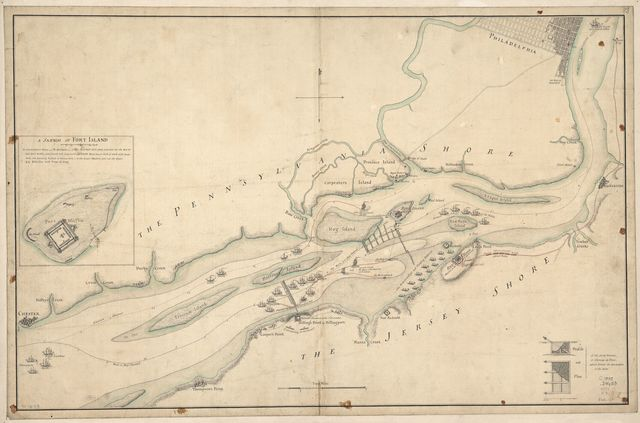 [The course of Delaware River from Philadelphia to Chester, exhibiting the several works erected by the rebels to defend its passage, with the attacks made upon them by His Majesty's land & sea forces.
