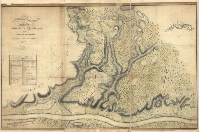 The encampment & position of the army under His Excy. Lt. Gl: Burgoyne at Swords's and Freeman's Farms on Hudsons River near Stillwater, 1777.