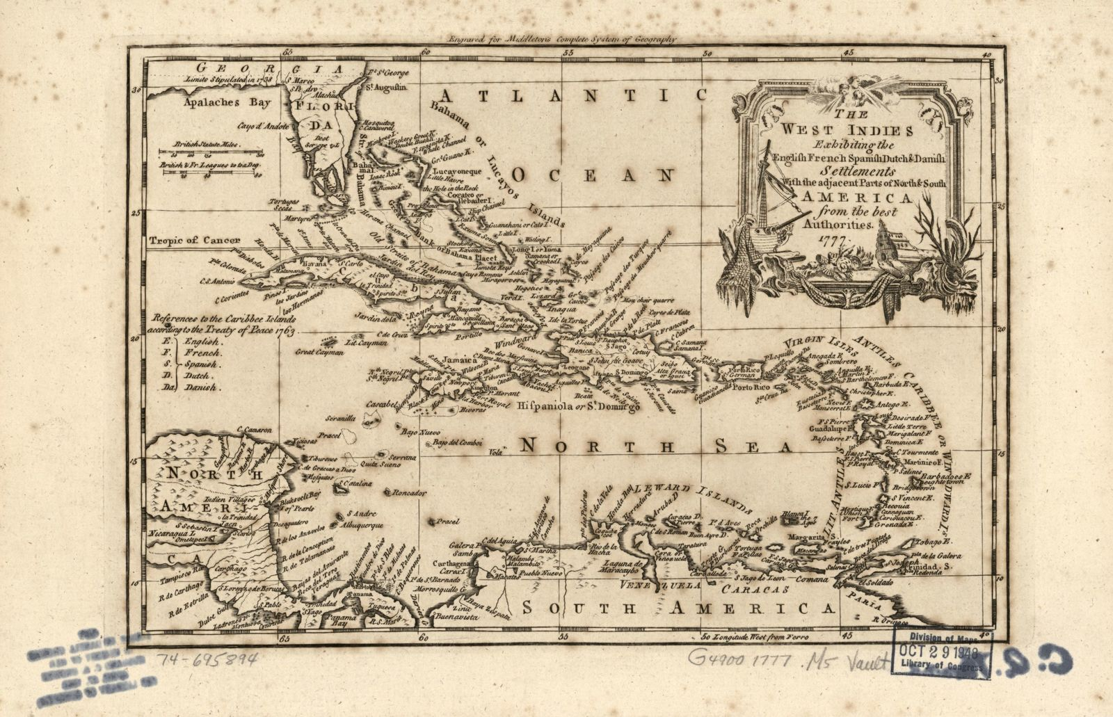 The West Indies, exhibiting the English, French, Spanish, Dutch & Danish settlements with the adjacent parts of North & South America, from the best authorities.