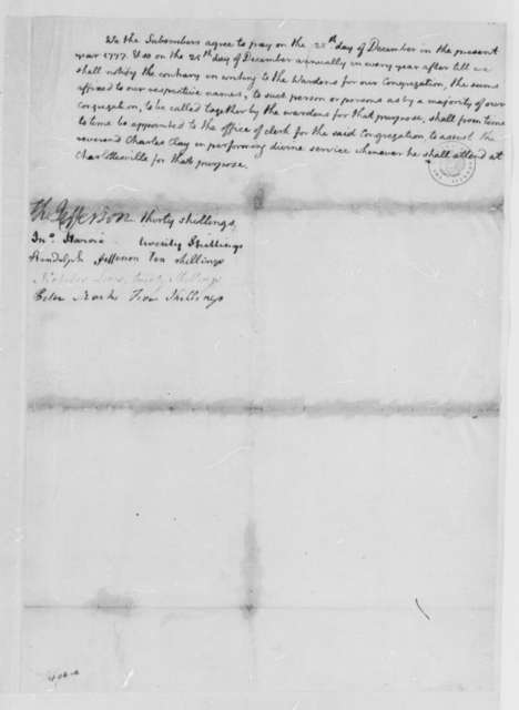 Thomas Jefferson, February 1777, Draft of Subscription to Support a Clerk to Assist Charles Clay as Minister in Charlottesville, Virginia