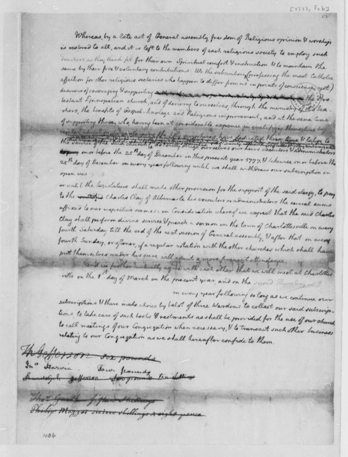 Thomas Jefferson, February 1777, Draft of Subscription to Support Charles Clay as Minister in Charlottesville, Virginia; Religious Freedom