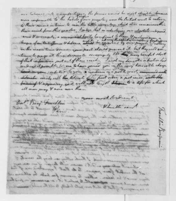 Thomas Jefferson to Benjamin Franklin, August 13, 1777, Introduction of Thomas Shores; Virginia Political Affairs