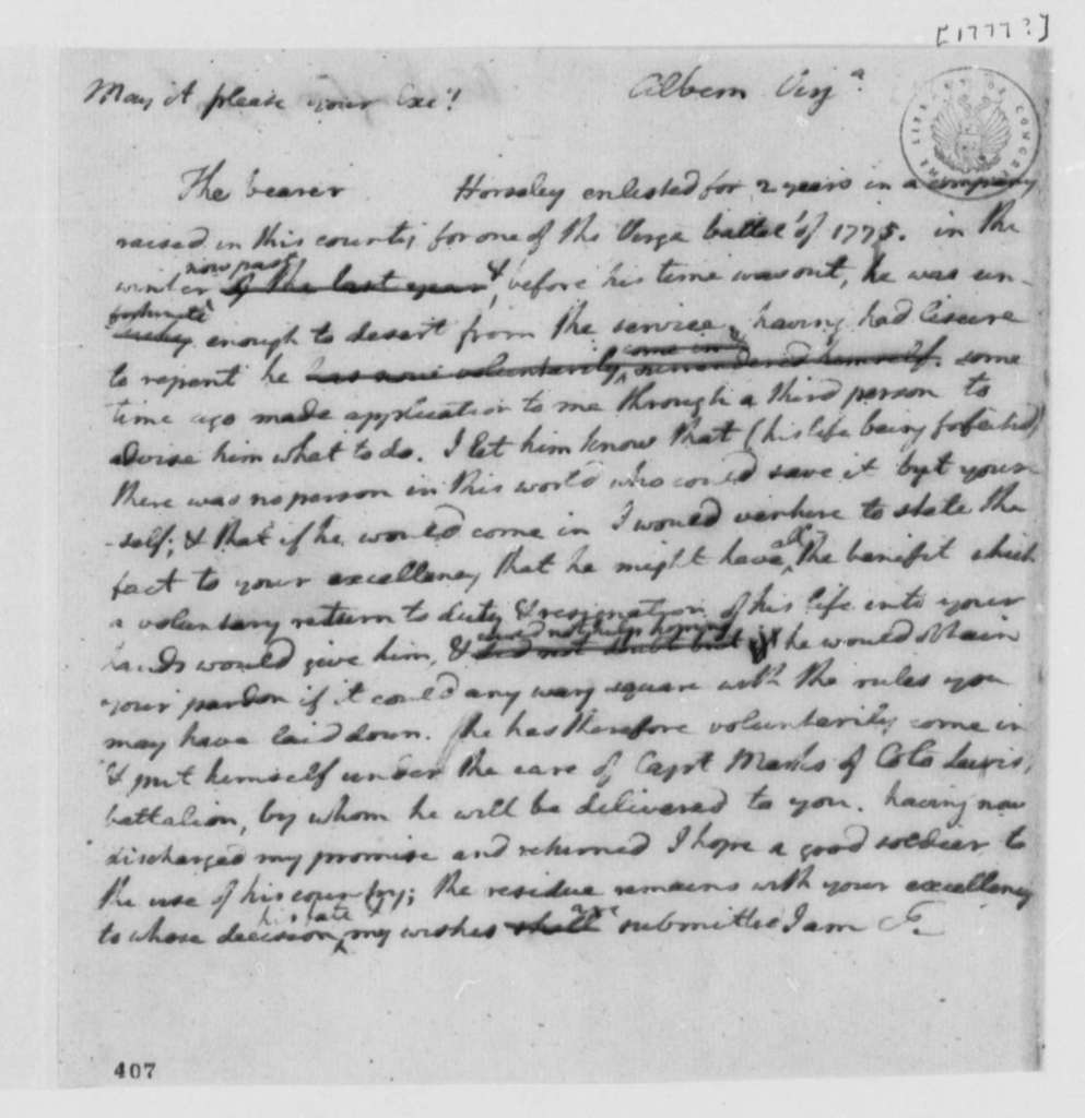 Thomas Jefferson to George Washington, 1777, Voluntary Return of Horseley to Military Service