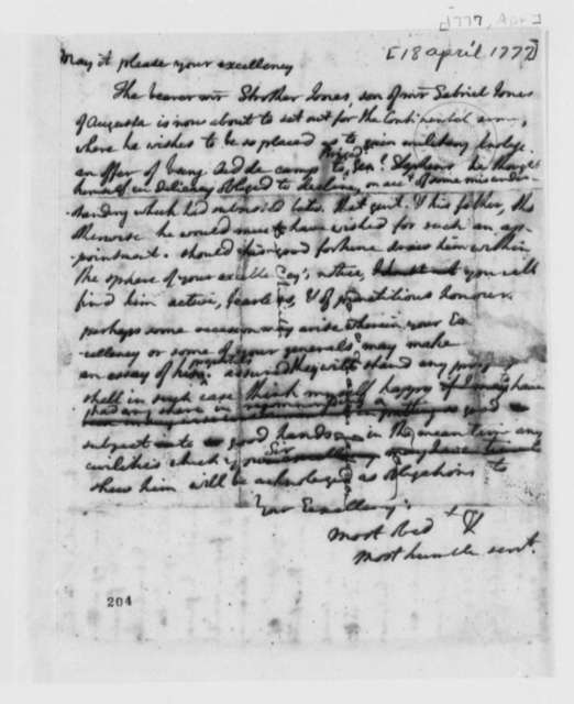 Thomas Jefferson to George Washington, April 18, 1777, Letter of Introduction for Strother Jones