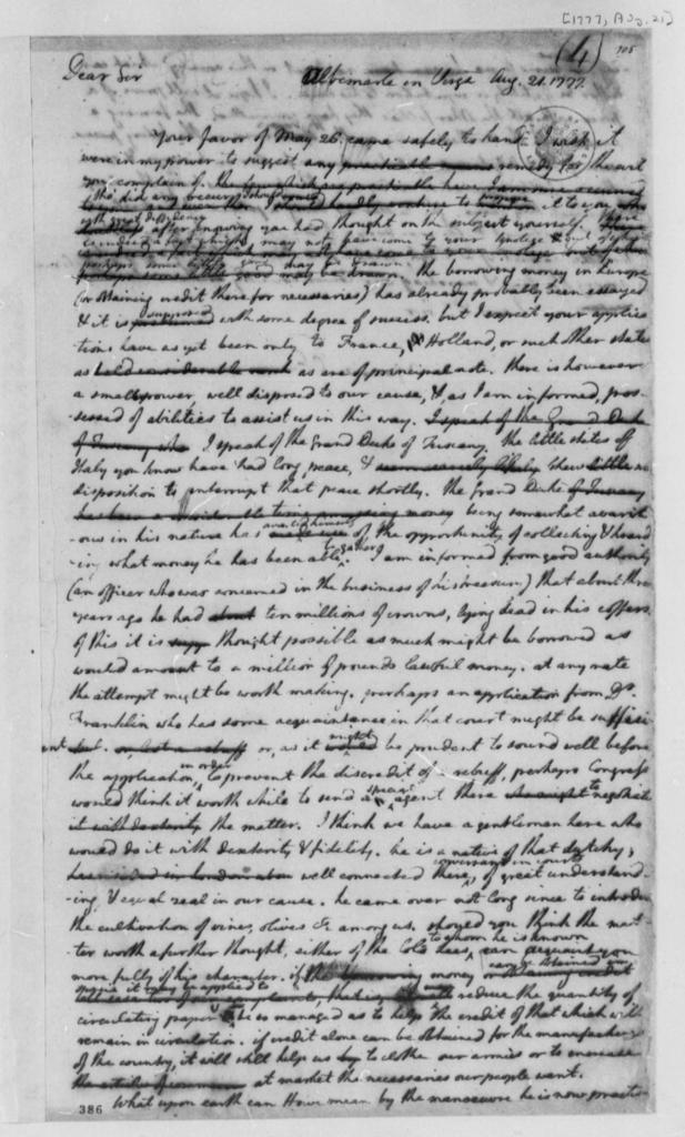 Thomas Jefferson to John Adams, August 21, 1777, Finances; Possible Loan from Grand Duke of Tuscany; British Fleet Movements