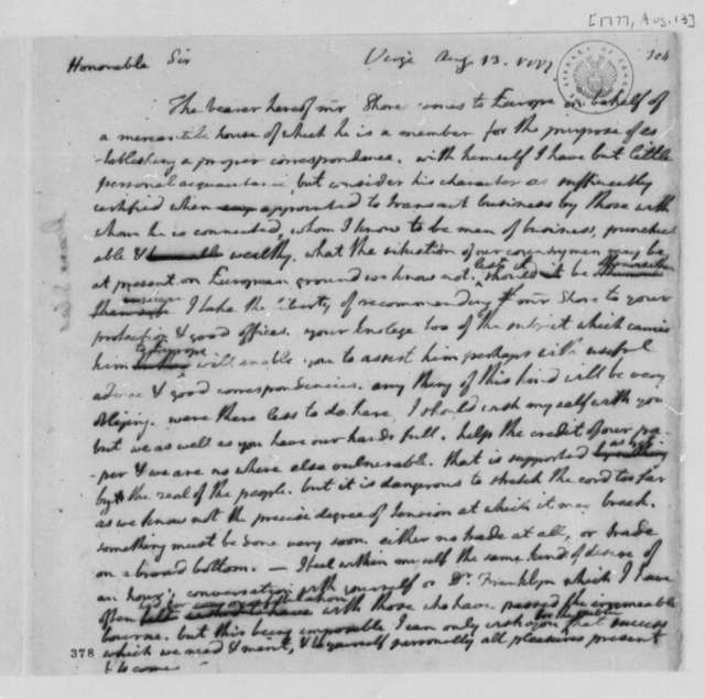 Thomas Jefferson to Silas Deane, August 13, 1777, Introduction of Thomas Shores; Trade with Great Britain