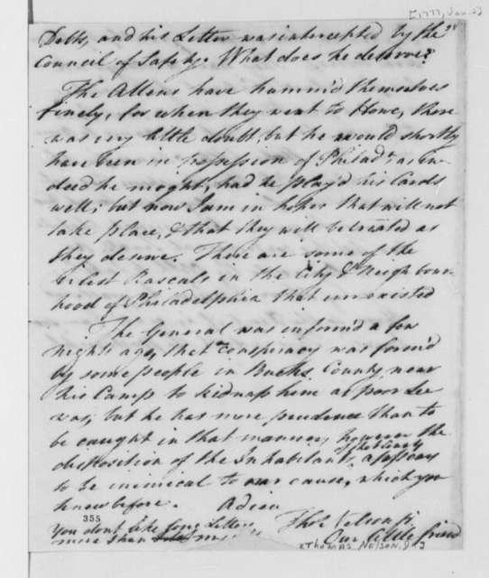 Thomas Nelson Jr. to Thomas Jefferson, January 2, 1777, Business and Military Matters; Treatment of Women