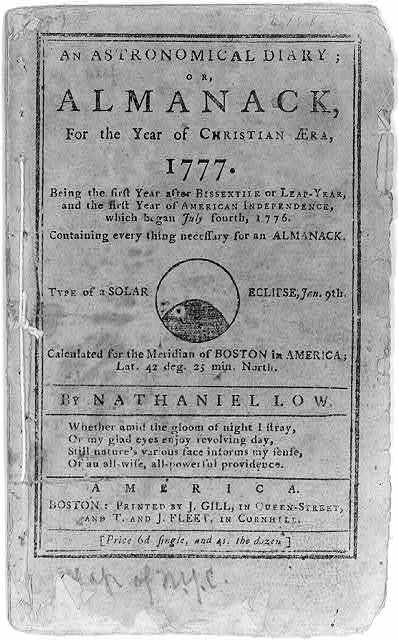 """[Title page of """"An Astronomical Diary, or Almanack,...for 1777...by Nathaniel Law""""; illus. with solar eclipse of Jan. 9th]"""
