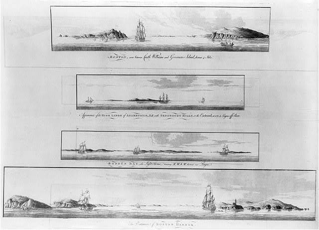 [Views from offshore of the New England coastline and islands at the entrance to Boston Harbor]