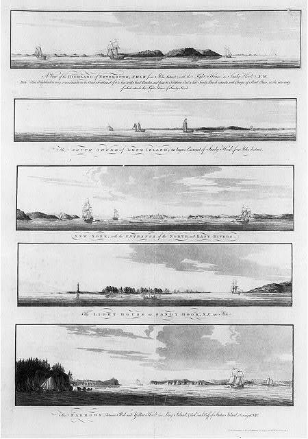 [Views of the coastline of New York, Long Island, Staten Island, and the lighthouse on Sandy Hook, New Jersey]