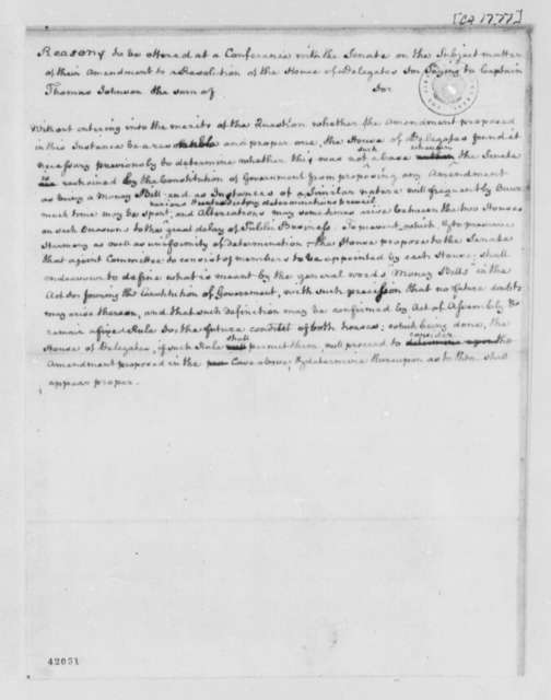 Virginia General Assembly, 1777, Report from House of Delegates to Senate on Money Bills