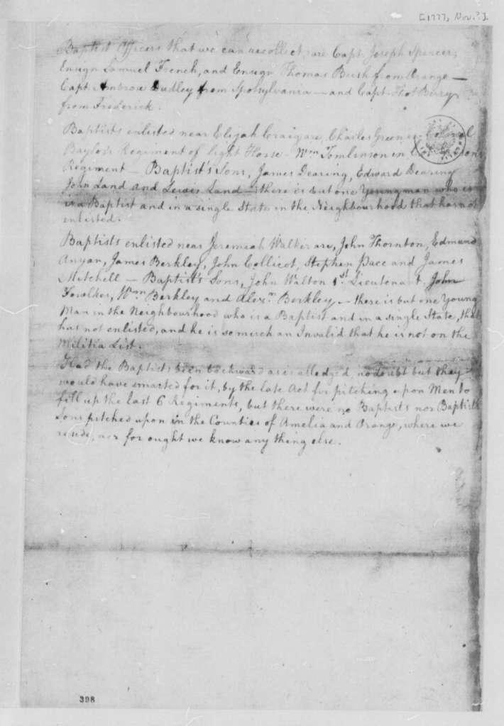 Virginia Militia, November 1777, Memorandum on Baptists in Military