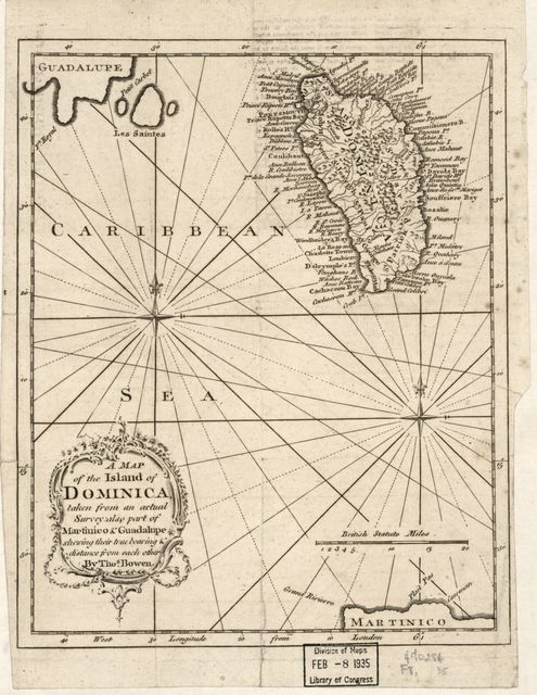 A map of the island of Dominica taken from an actual survey, also part of Martinico & Guadalupe shewing their true bearing & distance from each other /