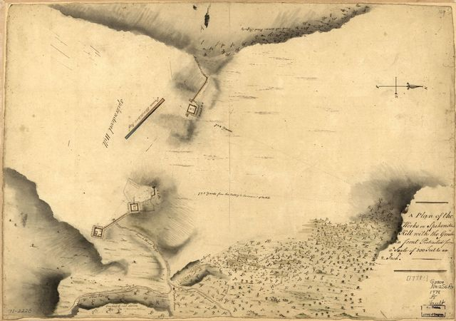 A Plan of the works on Spikendevil Hill with the ground in front, protracted from a scale of 200 feet to an inch.