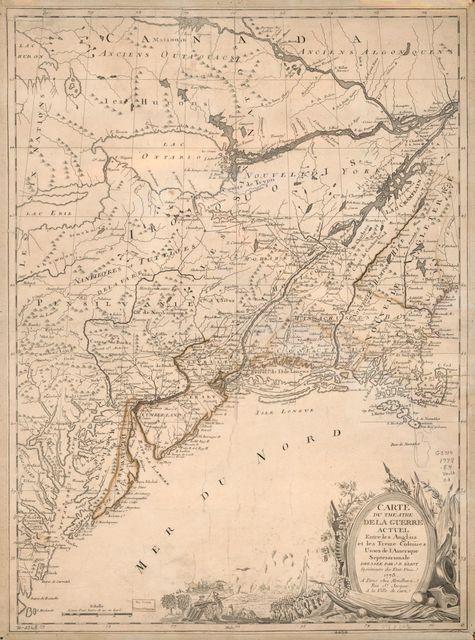 Carte du théatre de la guerre actuel entre les Anglais et les Treize Colonies Unies de l'Amerique Septentrionale,