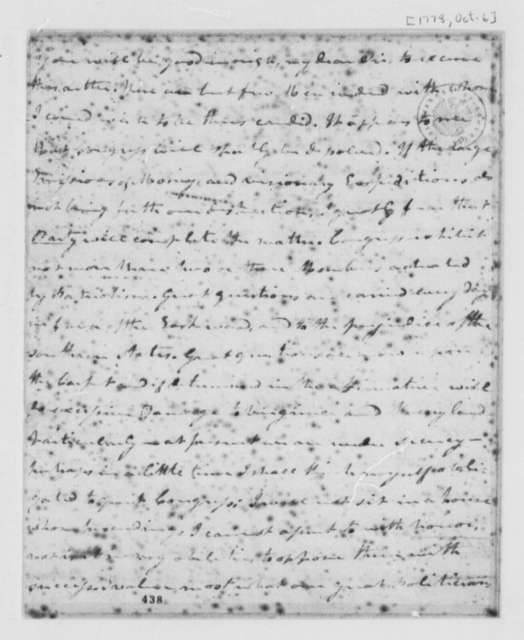Cyrus Griffin to Thomas Jefferson, October 6, 1778, Continental Congress; Conflict Between Eastern and Southern States; American Commissioners in Europe