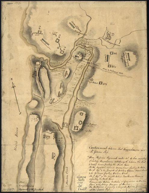 [Disposition of British troops, with fortifications north of Fort Knipehausen, i.e. Fort Washington to Fort Independence.