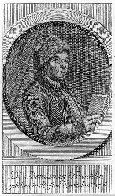 Dr. Beniamin [i.e., Benjamin] Franklin gebohrn zu Boston den 17 Janü. 1706
