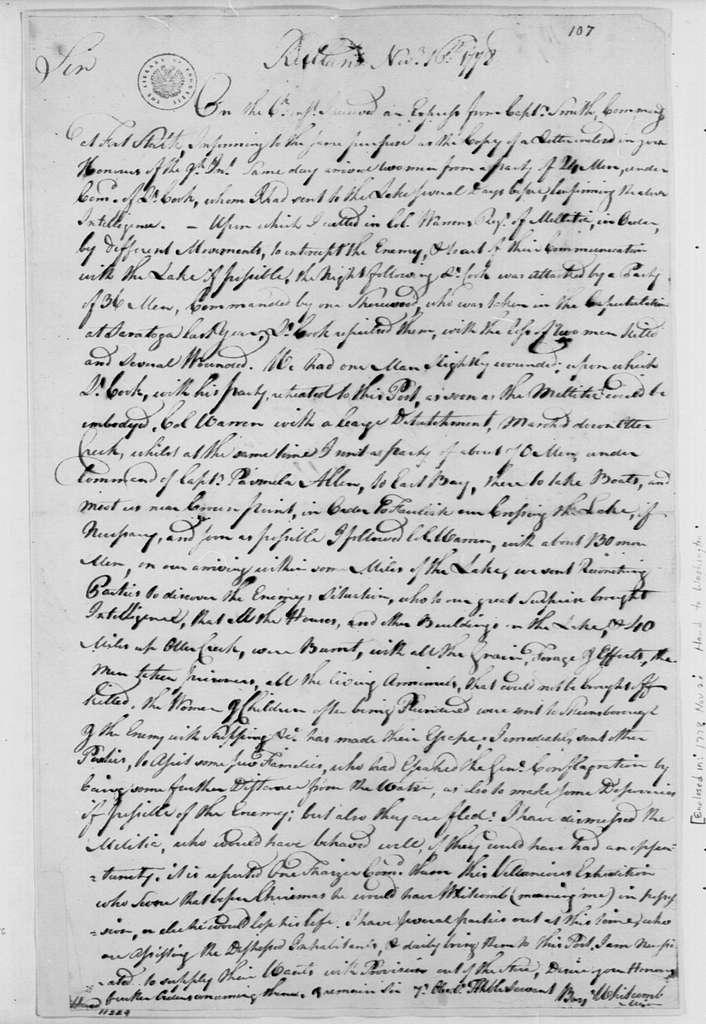 George Washington Papers, Series 4, General Correspondence: Benjamin Whetcomb to Edward Hand, November 16, 1778