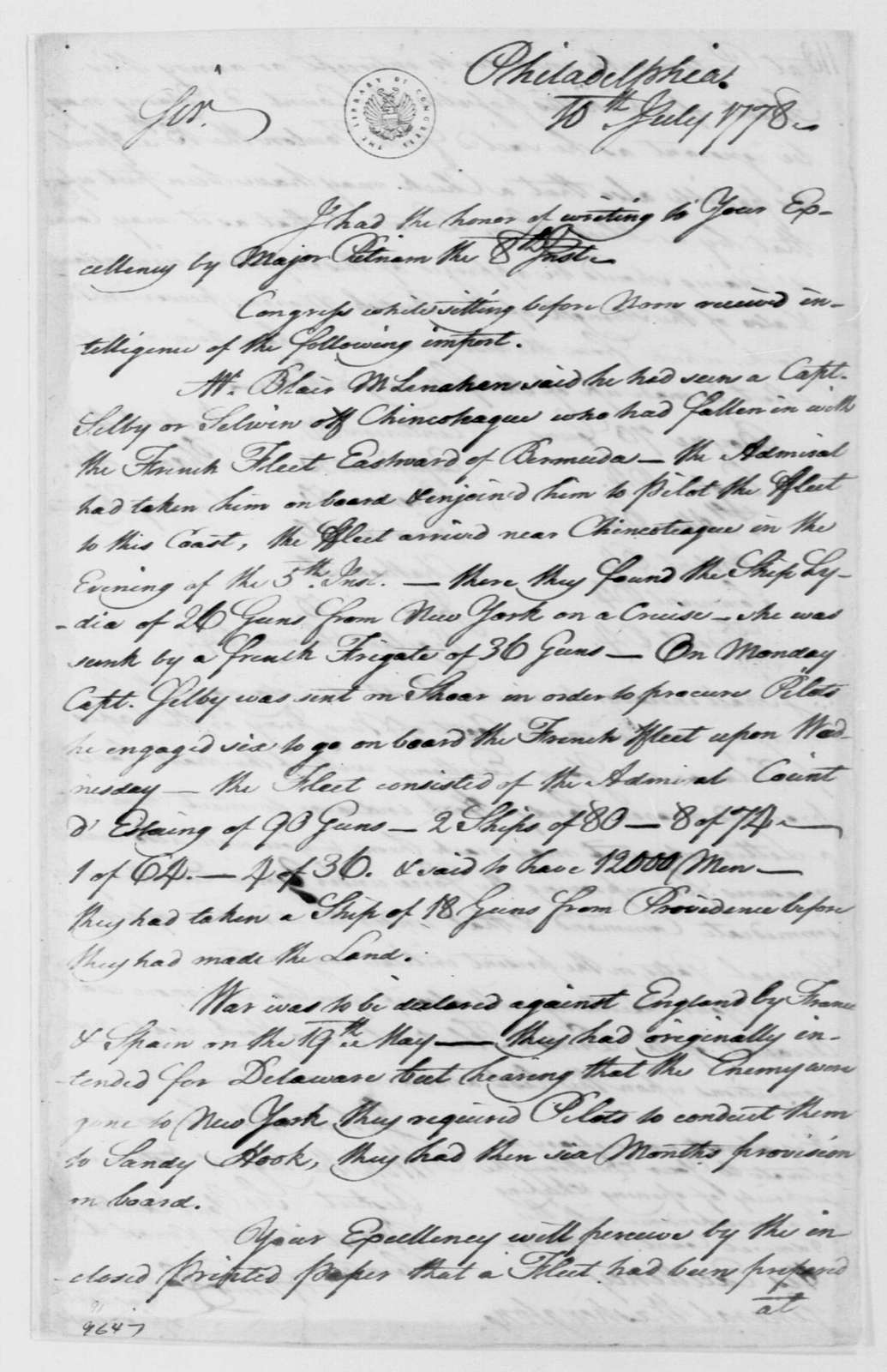 George Washington Papers, Series 4, General Correspondence: Continental Congress to George Washington, July 10, 1778