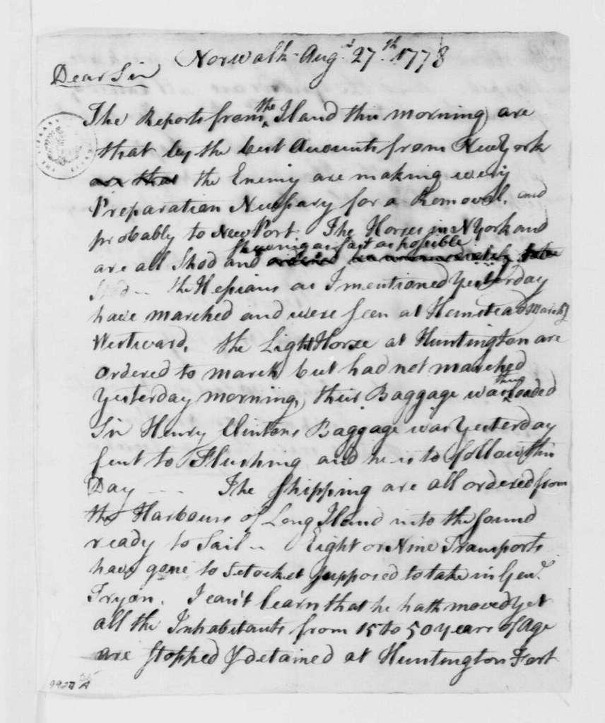 George Washington Papers, Series 4, General Correspondence: Ebenezer Gray to Samuel H. Parsons, August 27, 1778