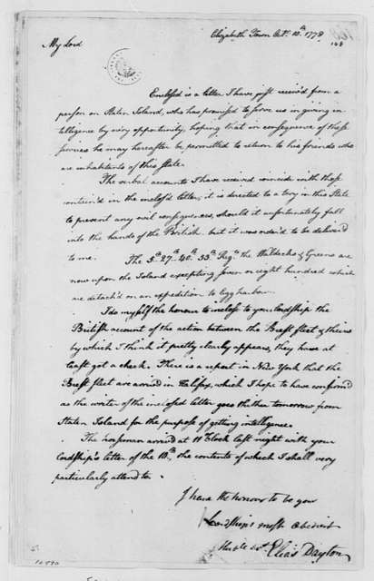 George Washington Papers, Series 4, General Correspondence: Elias Dayton to William Alexander, Lord Stirling, October 10, 1778