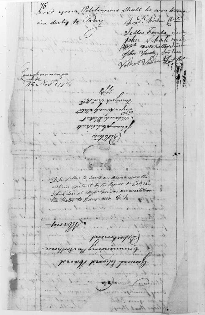 George Washington Papers, Series 4, General Correspondence: Frederick Fisher, et al to Edward Hand, November 15, 1778, Petition