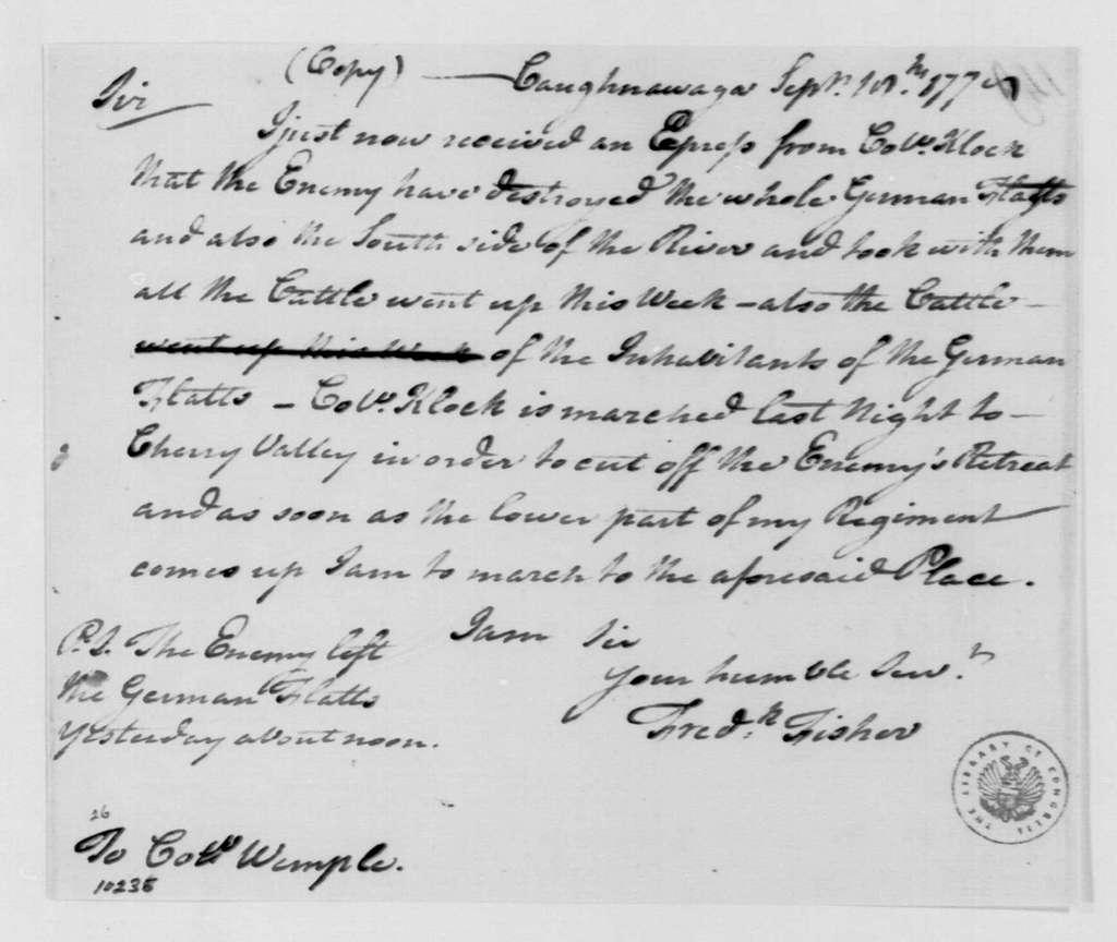 George Washington Papers, Series 4, General Correspondence: Frederick Fisher to Myndert Wemple, September 18, 1778
