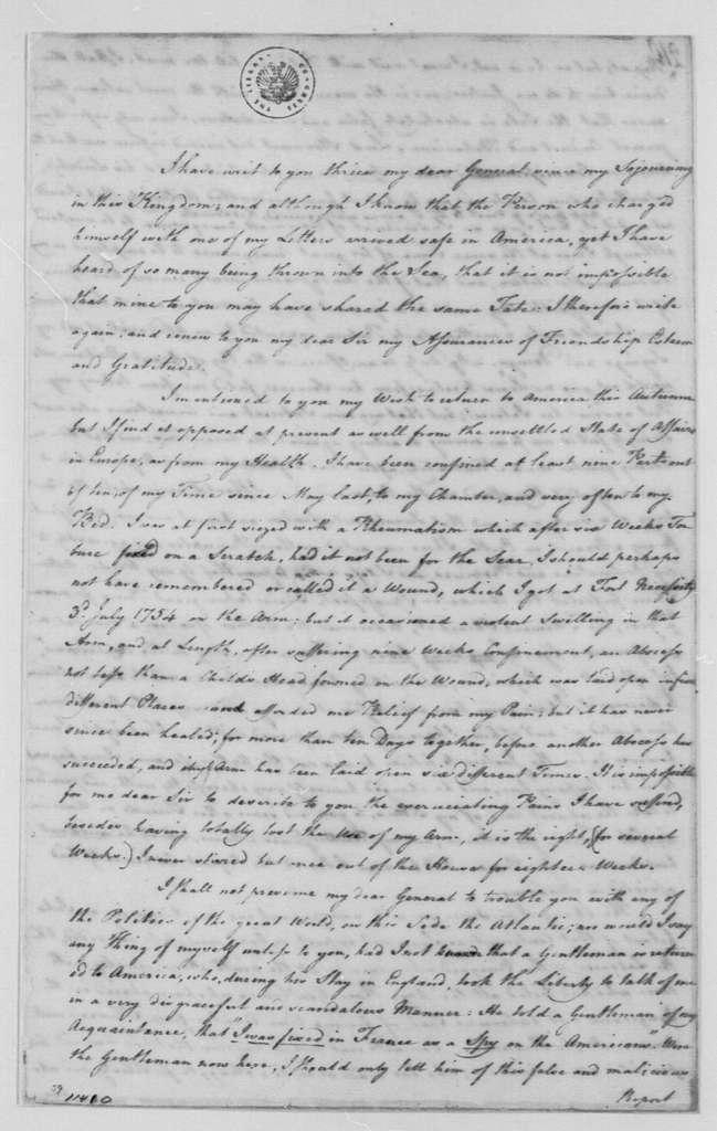 George Washington Papers, Series 4, General Correspondence: George Mercer to George Washington, November 28, 1778