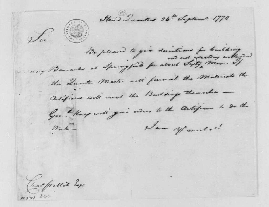 George Washington Papers, Series 4, General Correspondence: George Washington to Charles Pettit, September 26, 1778