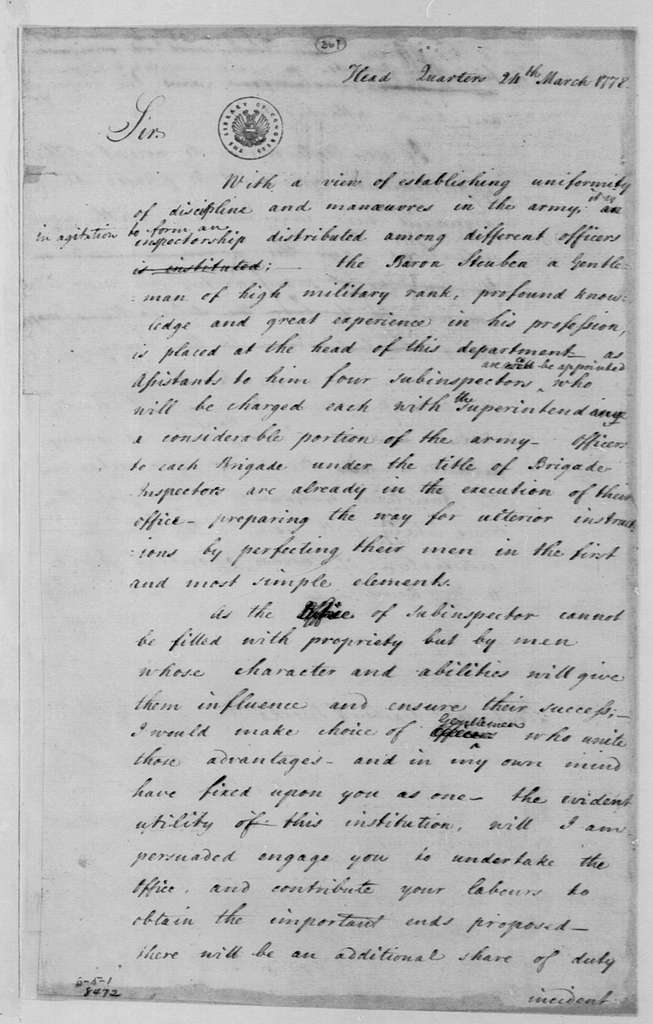 George Washington Papers, Series 4, General Correspondence: George Washington to Francis Barber and John Brooks, March 24, 1778