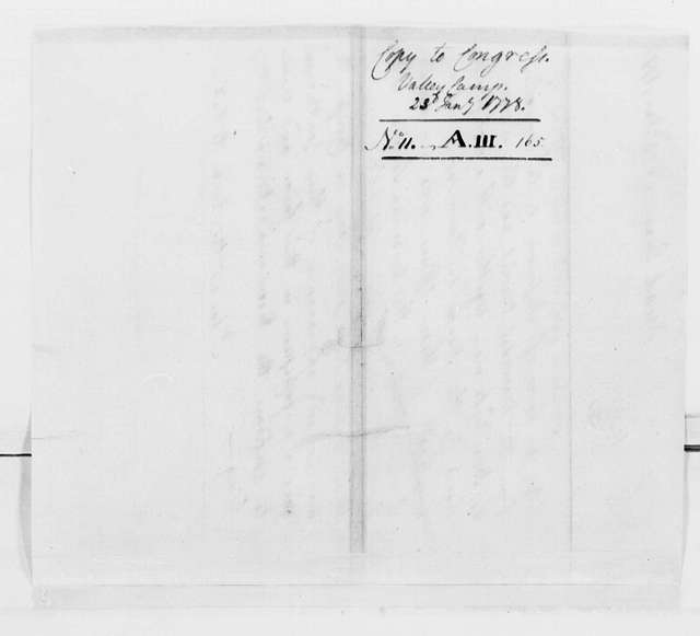 George Washington Papers, Series 4, General Correspondence: George Washington to Continental Congress, January 23, 1778