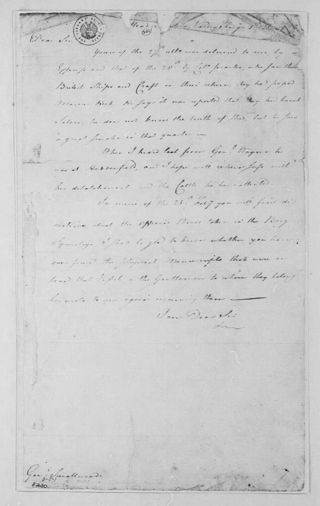 George Washington Papers, Series 4, General Correspondence: George Washington to William Smallwood, March 1, 1778