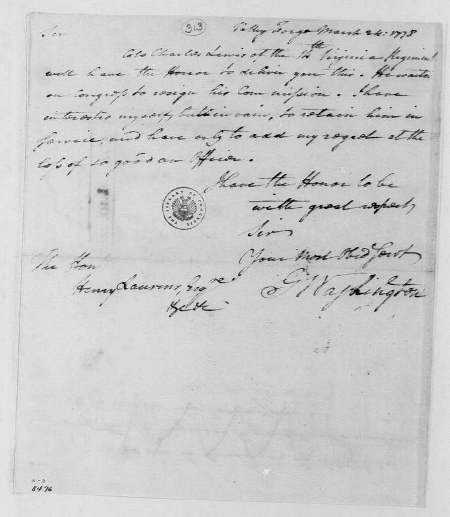 George Washington Papers, Series 4, General Correspondence: George Washington to Continental Congress, March 24, 1778, two same date