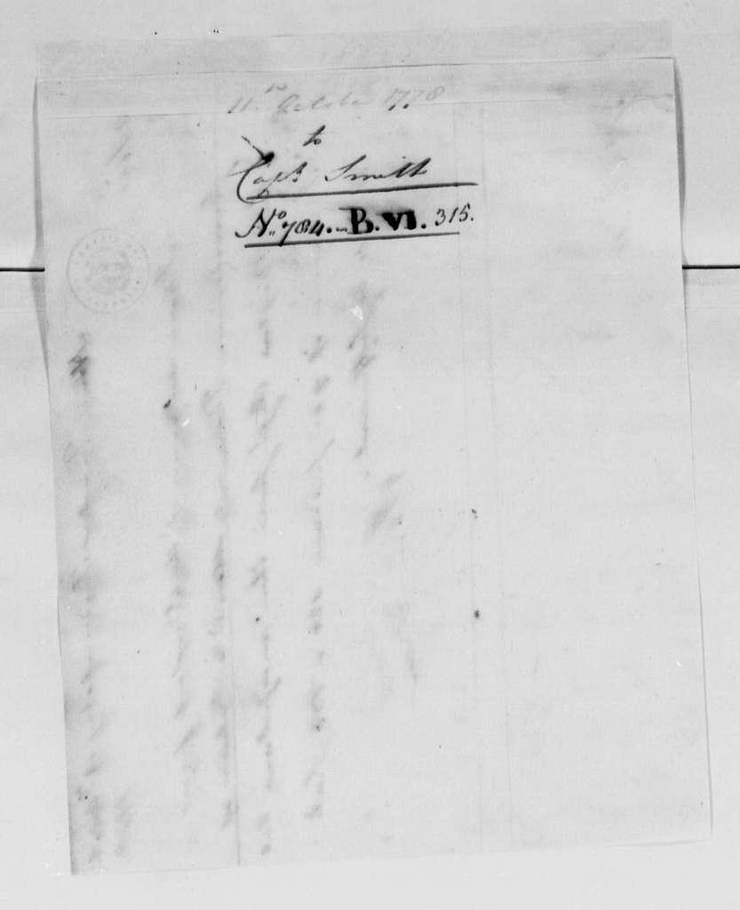 George Washington Papers, Series 4, General Correspondence: George Washington to Robert Smith, October 11, 1778