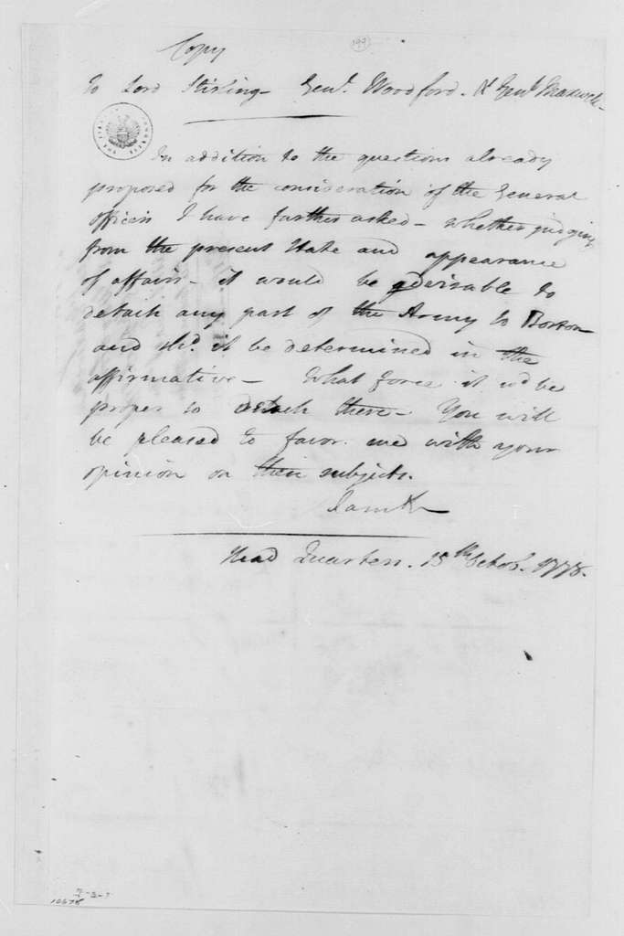 George Washington Papers, Series 4, General Correspondence: George Washington to William Alexander, Lord Stirling; William Woodford, and William Maxwell, October 15, 1778, Questions for Continental Army War Council