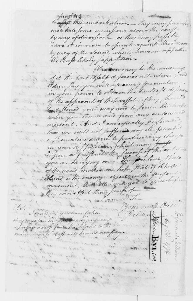 George Washington Papers, Series 4, General Correspondence: George Washington to John Sullivan, August 22, 1778