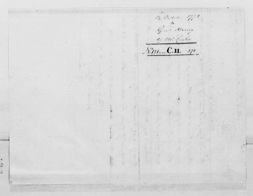George Washington Papers, Series 4, General Correspondence: George Washington to Patrick Henry, October 14, 1778