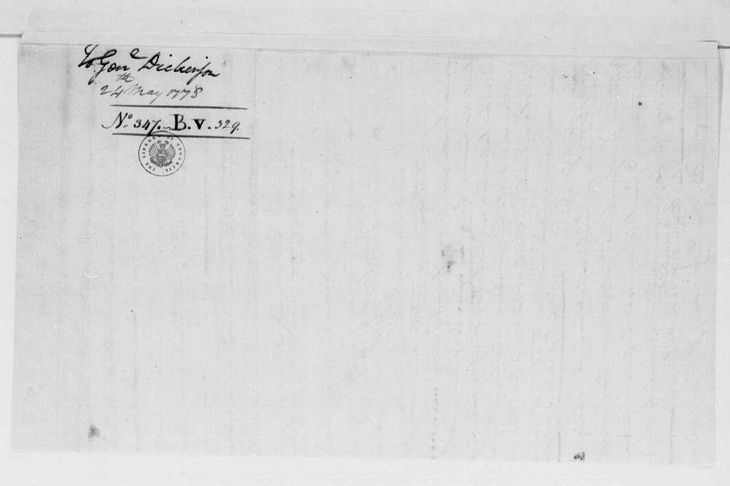 George Washington Papers, Series 4, General Correspondence: George Washington to Philemon Dickinson, May 24, 1778
