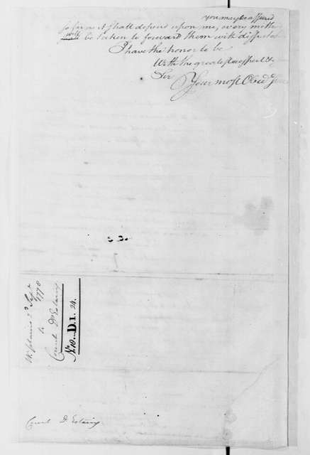 George Washington Papers, Series 4, General Correspondence: George Washington to Charles Hector, Comte d'Estaing, September 2, 1778