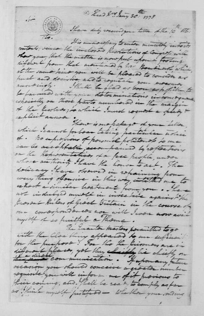 George Washington Papers, Series 4, General Correspondence: George Washington to William Howe, January 30, 1778