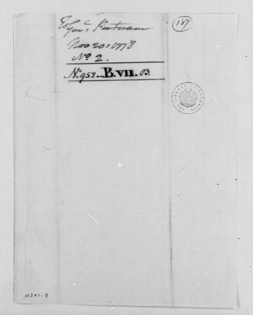 George Washington Papers, Series 4, General Correspondence: George Washington to Israel Putnam, November 20, 1778, two same date