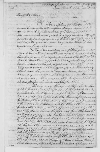 George Washington Papers, Series 4, General Correspondence: George Washington to John A. Washington, September 23, 1778