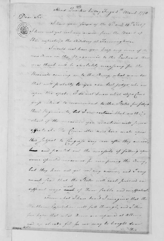 George Washington Papers, Series 4, General Correspondence: George Washington to Henry Knox, March 5, 1778