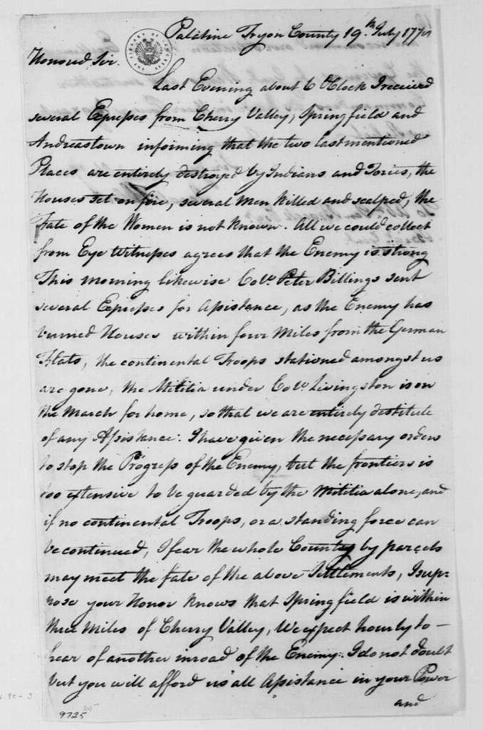 George Washington Papers, Series 4, General Correspondence: Jacob Klock to Abraham Ten Broeck, July 19, 1778