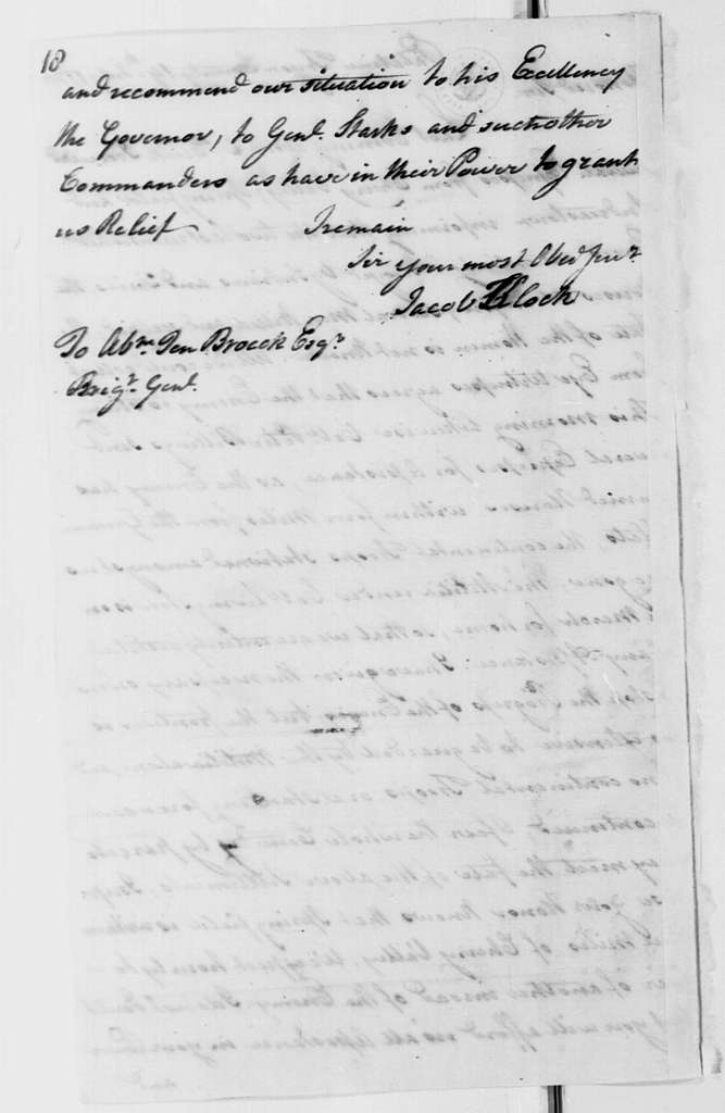 George Washington Papers, Series 4, General Correspondence: Jacob Klock to Abraham Ten Broeck, July 19, 1778