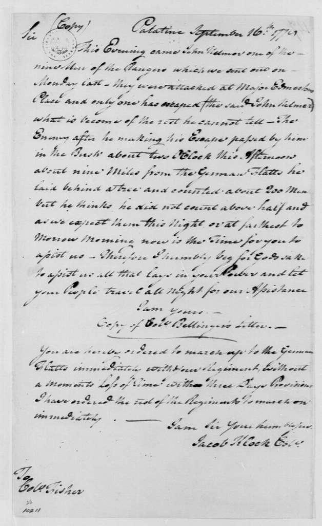 George Washington Papers, Series 4, General Correspondence: Jacob Klock to Frederick Fisher, September 16, 1778