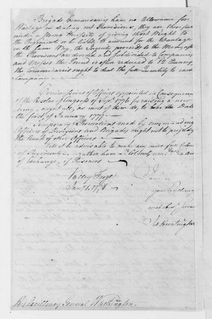 George Washington Papers, Series 4, General Correspondence: Jedidiah Huntington to George Washington, January 1, 1778
