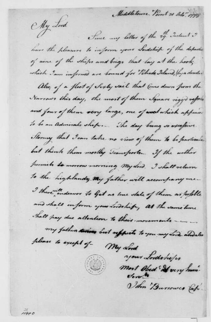 George Washington Papers, Series 4, General Correspondence: John Burrowes to William Alexander, Lord Stirling, October 31, 1778