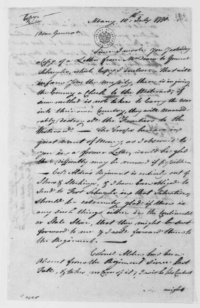 George Washington Papers, Series 4, General Correspondence: John Stark to Horatio Gates, July 10, 1778
